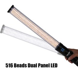 Luz do tubo gelado on-line-Handheld Dual Panel 516AS LED Foto / Vídeo Luz 3200-5600K Magic Tube Light Stick Embutido Bateria Fotografia Lâmpada como gelo luz