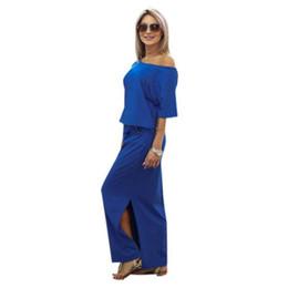 Argentina Vestidos 2018 nuevas mujeres del verano vestido largo boho sexy fuera del hombro manga corta lateral fiesta de noche vestido de playa largo vestido de tirantes Suministro