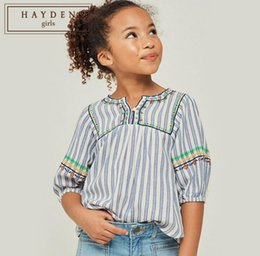 10447c4ab3b 2019 Autumn Big Girl Striped Jumper Shirts Teenager Embroidery Floral  Blouse Junior Fashion Tops Children Clothing