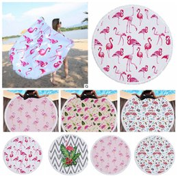 Wholesale Tablecloths Tassels - Flamingo Printed Round Tassel Beach Towel Women Shawl Tablecloth Picnic Rugs Yoga Mat Round Beach Towel KKA4125