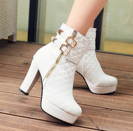 46d58ee3e81 sexy black platform ankle boots 2019 - chic women boots grid design  platform shoes metal decorated