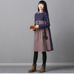 Wholesale Pencil Midi Dress - Autumn Spring Plue size dress for women Loose Cotton linen Long sleeve dress Blue and Black colors