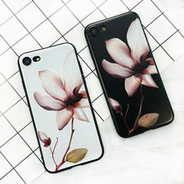 Для iPhone 6 Plus X 8 7 6 6 S 5S телефон Case 3D Белый цветок краска старинные мягкие TPU задняя крышка Cases Коке от