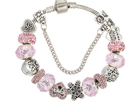 Wholesale Fishing Snow - Hot - selling new pink crystal beaded hand chain pan -pull Diy love snow bracelet