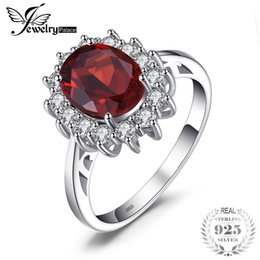 diana rings Coupons - JewelryPalace Kate Princess Diana 2.5ct Natural Garnet Halo Engagement Ring Genuine Pure 925 Sterling Sliver Jewelry For Women