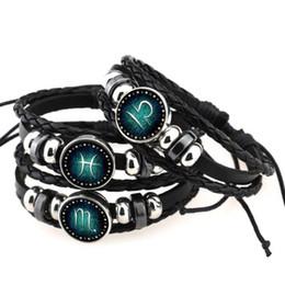 bracelet vierge Promotion 2018 Nouveau Bélier Taureau Gémeaux Cancer Vierge 12 Signe Du Zodiaque Bracelet Femmes Hommes Noir Véritable Tressé En Cuir Bracelets Snap bracelet