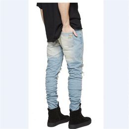 Wholesale Designer Jumpsuit - Wholesale-New Arrival Mens Jumpsuit Designer God RedLine Justin Bieber Pants Denim Skinny Ripped Jeans High Quality