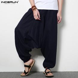 Colin_scot 3XL Hommes Joggers Coton Indien Harem Pantalon Hommes Fluide Grand Entrejambe Pantalon Népal élastique taille Baggy Lin Pantalon Hommes Plus La Taille ? partir de fabricateur