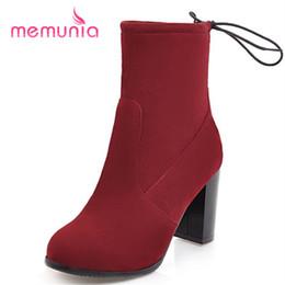 2019 botas de invierno estrechas MEMUNIA nuevo llega 2018 botines de tacón extremo botas de moda elegante banda estrecha de invierno de gran tamaño 34-43 botas de invierno estrechas baratos