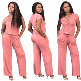 62a388a735 2018 New Casual Overalls For Women Jumpsuits Playsuits Short Sleeve V Neck  Long Rompers Pants Pink