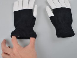 Wholesale white rave glove lights - wholesale Rave Gloves Mitts Flashing Finger Lighting Glove LED Colorful 7 Colors Light Show Black and White DHL free shipping