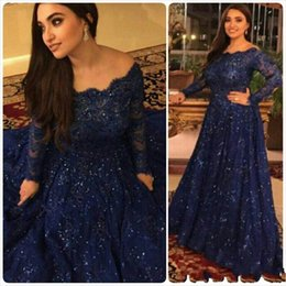 Wholesale Wedding Dresses Designed - Dark Navy New Design Mother Of The Bride Dresses 2018 Long Sleeves Sequined Lace A Line Long Formal Wedding Guest Evening Dresses Gowns