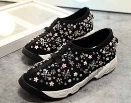 bead flower mesh Australia - Top Quality Womens Sports Shoes Sequins Beads Flowers Comfort Sneakers Walking Travel Shoes 23 Colors Free Shipping 34-42 A1