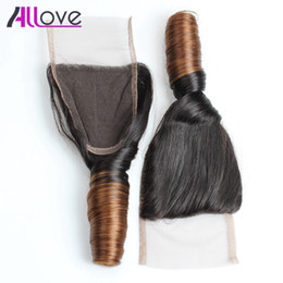 Wholesale Spring Curly - 10A Brazilian Spring Curl T4# Lace Closure 4*4 Spring Curl Lace Closure Peruvian Virgin Hair Malaysian Human Hair Extensions