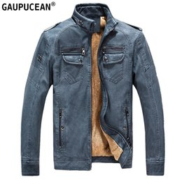 Wholesale Striped Leather Jackets Men - Man PU Jacket Winter Fleece Coat High Quality Zipper Thick Pockets Blue Brown Coffee Black Male Clothing Men Leather Jackets