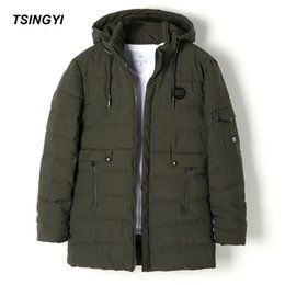 Wholesale Casaco Inverno Masculino - Tsingyi Winter Warm Men's Jacket Hood Solid Blue Black Army green Windproof Outerwear Thick Parkas Casaco Masculino Inverno Coat