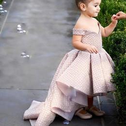 robe basse de l'eau des filles Promotion Fleur de Champagne Filles Robes 2018 Hors de l'épaule Paillettes Robe de Bal Ruffle High Front et Bas Retour Petites Filles Pageant Robes Robes