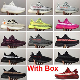 Wholesale Red Light Night - 2018 New Boost 350 V2 Semi Frozen Yellow Grey Blue Tint Zebra Red night Red Gray Beluga 2.0 Running Shoes With Box