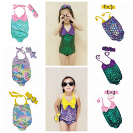 Wholesale pieces fashion - New Fashion Kids Baby Girl Mermaid One-piece Bikini Swimwear Swimsuit Bathing Headband Suit Beachwear 6 Colors DDA480
