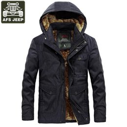Wholesale Military Jacket Liner - AFS JEEP Brand 2018 New Winter Parka Men Military Parka Thick Warm Winter Coat Men Hooded Collar Wool Liner Windbreaker Jackets