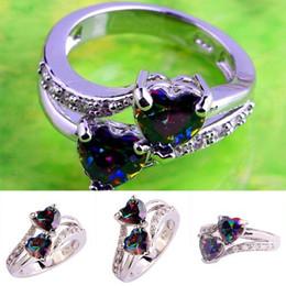 anéis de diamante de strass Desconto New Fashion multicolor Lover Jóias Coração Cut Rainbow Topázio Branco Gemstone Anel De Prata