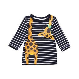 Jirafa bebe ropa niño online-MUQGEW 2018 Venta caliente Niños Pequeños Niños Niños Mangas Largas Estampado de Jirafa Camiseta de la raya Tops Ropa de bebé Dropshiping Ropa de bebé