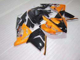 kawasaki orange black Canada - 7gifts fairings for Kawasaki Injection molding ZX 10R 2004 2005 bodywork ZX 10R 04 05 black orange fairing kit ZX10R HG55