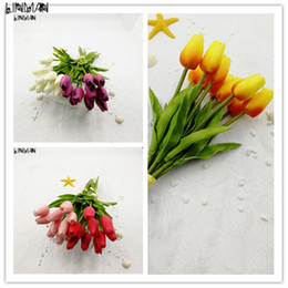 Wholesale Pink Lin - LIN MAN 10PCS Artificial Tulip Flowers Single Long Stem Bouquet Real Touch Beautiful Simulation Flowers for Home Room Party Wedding