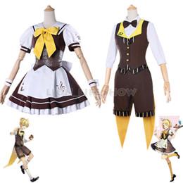 rin kagamine cosplay Desconto VOCALOID Kagamine Rin / Ren Empregada Doméstica Ternos Vestido Cosplay Costumes conjunto completo