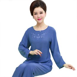 8201bcda52 Blue Women Embroidery Pajamas Set Full Sleeve Shirt Pant Pajama Suit Cotton  2PCS Sleepwear Autumn Nightwear Bath Gown M-XXL