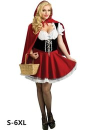 Wholesale Sexy Little Red Riding - ostume for women halloween costumes for women sexy cosplay little red riding hood fantasy game uniforms fancy dress outfit S-6XL,free shi...