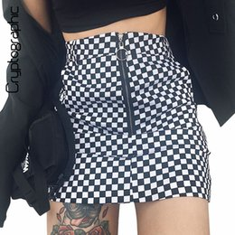 c2fc90be6a6b Cryptographic checkerboard high waist skirt 2018 summer sexy mini skirt  zipper pockets checkered skirts womens short bottom saia S916