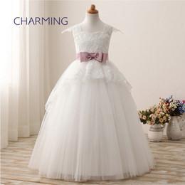 Девушки платья для подружки невесты онлайн-Кружевное платье Наплечная сумка с бантом на девочку юбка-ребенок цветочница свадебное платье длинные белые платья винтажные платья подружки невесты