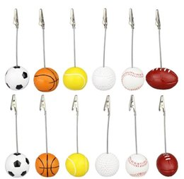 Wholesale Card Place Clip - Sport Ball Photo Clip Alligator Wire Card Memo Photo Clip Holder Table Place Card Holder Event Party Favor
