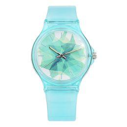 reloj de caramelo resistente al agua Rebajas Nueva moda de lujo simple mini mujeres niñas reloj resistente al agua impermeable azul transparente caramelo jalea para niños reloj y1890304