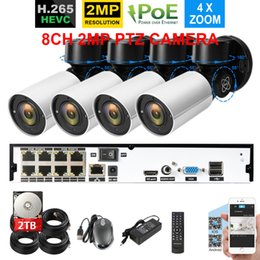 sistema de seguridad nvr poe Rebajas H.265 8CH 4MP NVR System con 4pcs 48V POE 2Mp 1920X1080 Security In / Outdoor Camera 4XOptical 2.8-12mm ZOOM PTZ IP Camera Kit