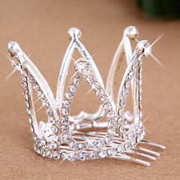 pin corona tiara Sconti New Hot Mini Girls Rhinestone Crown Bridal Tiara Capelli pettine Pin per la festa nuziale spedizione gratuita