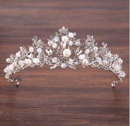 Wholesale acrylic hair ornaments - Bridal pearl handmade crown Silver Branch princess crown ornament crown hoop
