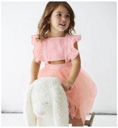Wholesale Kids Frocks Wholesalers - 2018 kids summer bownot princess party dress fancy girls fly sleeve lace tutu frocks