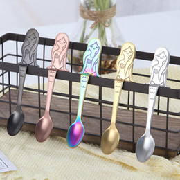 Wholesale Small Metal Spoons - 2018 New Mermaid Hanging Cup Spoon Dining & Bar Tableware Small Tea Ice Cream Sugar Cake Dessert Dinnerware Spoons Free DHL XL-519