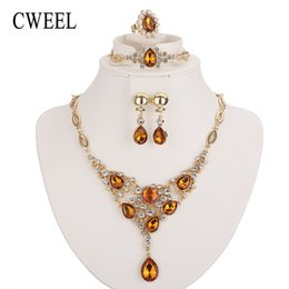 Wholesale Classic Costume Jewelry Wholesale - whole saleCWEEL Jewelry Sets For Women African Beads Jewelry Set Classic Gold Color Dubai Jewellery Sets Costume Wedding