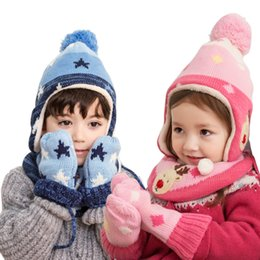 Wholesale Thick Knit Scarf Sets - New Winter Children Warm Thick Hat Scarf Glove 3pcs Set deer Knitted Baby Kids Beanie Cap Neck Warmer Gloves Set For Boys Girls