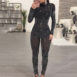 glitter netting Coupons - Rhinestones Net Sexy Women Jumpsuit Bodycon Playsuit CHEAPEST F435 Long Sleeve Glitter Jumpsuit Romper Black Beige