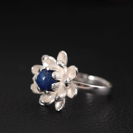 Wholesale lotus flower jewelry gold - designer fashion 925 sterling silver ring gold beautiful flower lotus Lapis lazuli Lord rings natural pearl Jewelry china direct wholesale
