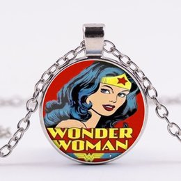 Wholesale Wonder Woman Wholesale - Alloy round Copper Plated trendy girl children Wonder Woman Necklace Wonder Woman logo Necklace Wonder Woman Pendant Necklace 2018 hot x486