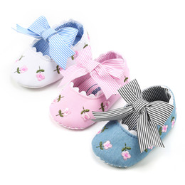 Wholesale floral print shoes - 3 colors new arrivals Soft bottom anti-skid baby first walker shoes kids girl embroidery floral stripped print baby shoes