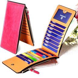 Wholesale Womens Blue Wallet - Women Wallets Solid Leather Slim Coin Zipper Purses Womens Wallet Hand bags Card Holders designer wallet