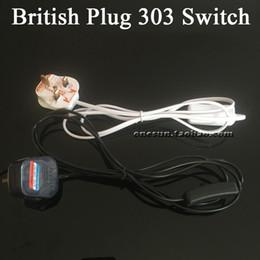 bs-taste Rabatt BS British Plug Adapter Europäische Stecker-Konverter mit 303-Tasten-Schalter Wippschalter-Anschluss Schalter-Steuerkabel mit 3 Steckern, 2 Adern