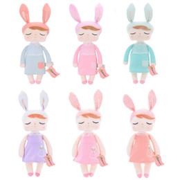 Мешки-мешки онлайн-кролик кукла METOO 2017 Новый дизайн высокого качества Анджела Dolls с мешком подарков Фаршированная Розовый Желтый Серый Кролик Подарки