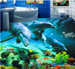 3d flocking wallpaper Promo Codes - photo wall mural Ocean World Dolphin Washroom Bathroom Bedroom 3D Floor vinyl flooring bathroom